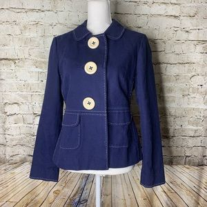Boden large button navy jacket, size 8, EUC